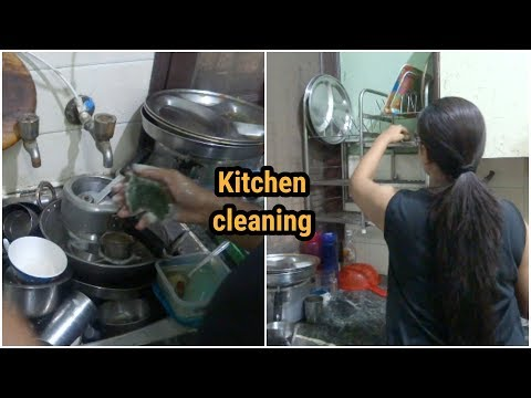 Indian Morning Kitchen Cleaning Routine(Basic) || Messy Kitchen Cleaning In 40 Minutes.