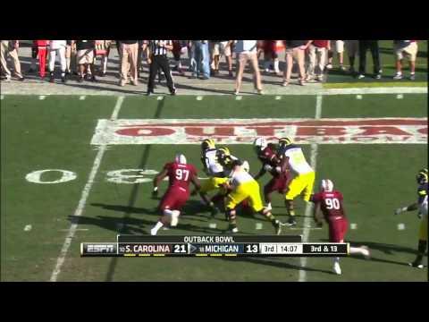 Devin Gardner vs South Carolina 2012 Bowl video.