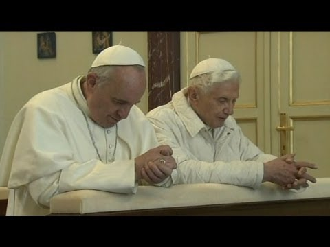 XVI - Pontiffs share embrace, moment of prayer during meeting at Castel Gandolfo.