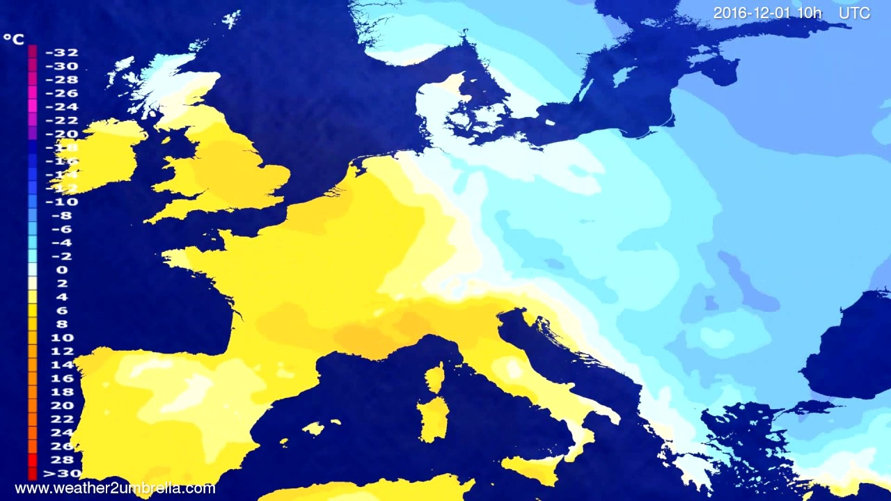Temperature forecast Europe 2016-11-29