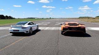 Video RACE! LAMBORGHINI AVENTADOR SV VS PORSCHE 911 TURBO S! MP3, 3GP, MP4, WEBM, AVI, FLV Desember 2018