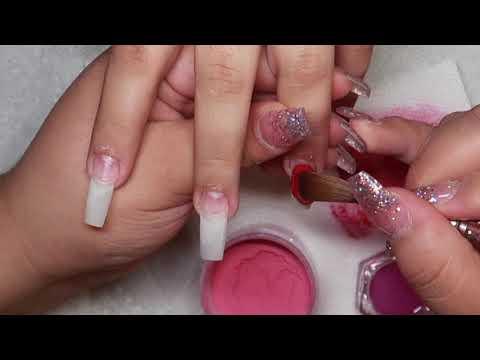 Square red acrylic nails  Christmas nails