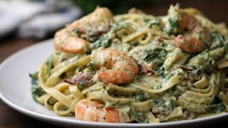 Shrimp Spinach Bacon Alfredo by Tasty