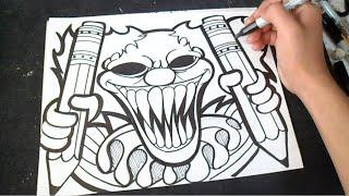 Speed Drawing Bad Clown (Graffiti) ZaXx