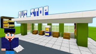 """Minecraft Tutorial: How To Make A Bus Stop / Bus Shelter """"2019 City Tutorial"""""""