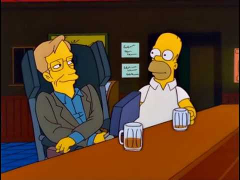 Homer Simpson Having A Beer With Stephen Hawking