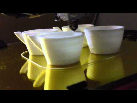 3D Printing 4 Expresso Cups Timelapse – Reprap Prusa Mendel – Pouring a Drink