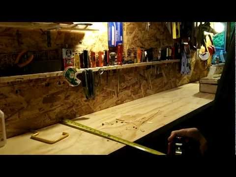 workbench tools - How to organize your tools and build a spacious garage workbench. Convenient inexpensive homemade workbench and shelving for tools. Plywood workbench. Reuse ...