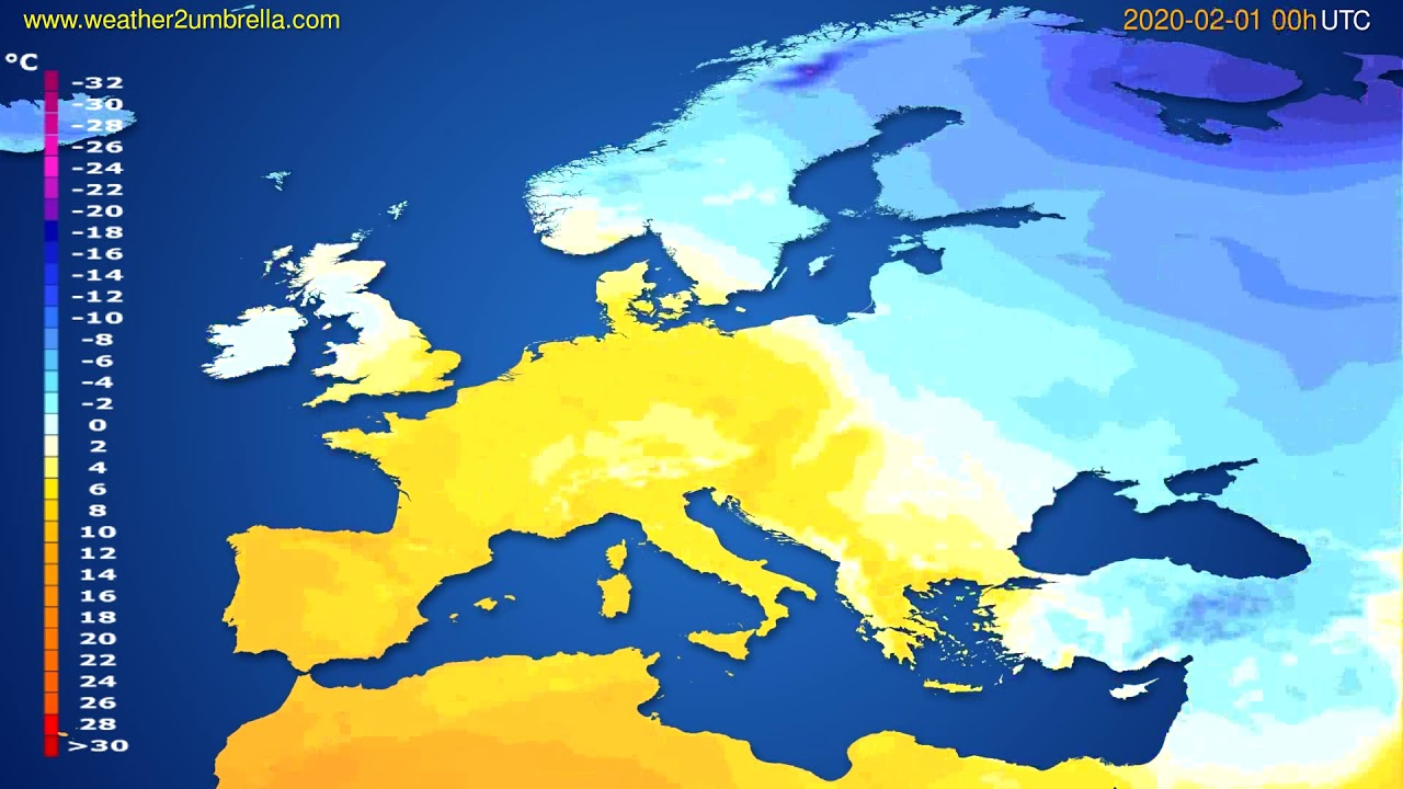Temperature forecast Europe // modelrun: 00h UTC 2020-01-31