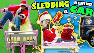 BED SLEDDING BEHIND A CAR + Unlimited POPCORN Life Hack w  Nerf Toy FUNnel V Fam Donate Vlog S