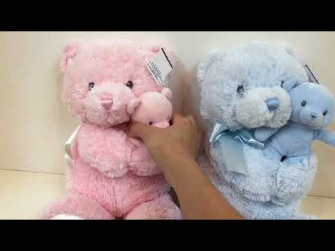 GUND Momma & Baby Bear Rattle Plush - Pink / Blue