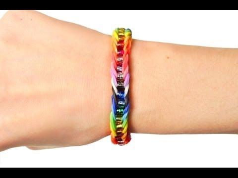 Loom bands V Tutorial braccialetto elastico con perle treccia singola (rubber bands bracelet)