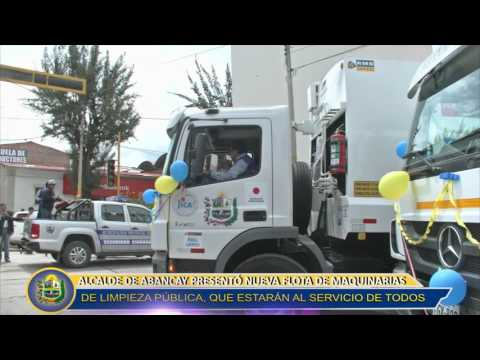 ALCALDE DE ABANCAY PRESENTA NUEVA FLOTA DE MAQUINARIAS DE LIMPIEZA PÚBLICA
