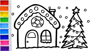 Warna-Warni Belajar Menggambar dan Mewarnai Glitter Christmas House with tree drawing for kids