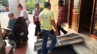 With a portable ramp in Surabaya