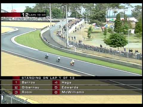 classics - A classic MotoGP race from Le Mans in 2003 with Sete Gibernau, Valentino Rossi and Alex Barros featuring amongst the front runners.