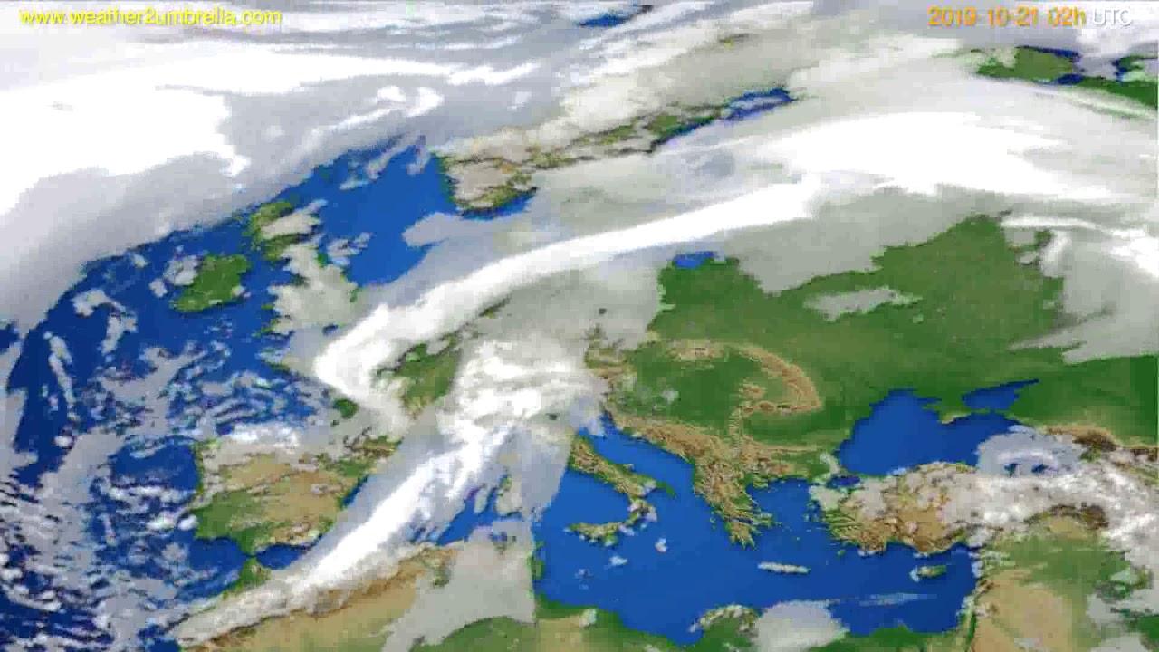 Cloud forecast Europe // modelrun: 00h UTC 2019-10-19