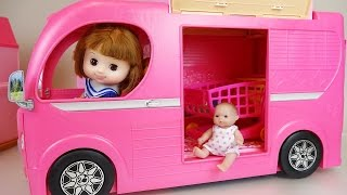 Video Pink Camping BUS and Baby doll toys picnic play MP3, 3GP, MP4, WEBM, AVI, FLV September 2017