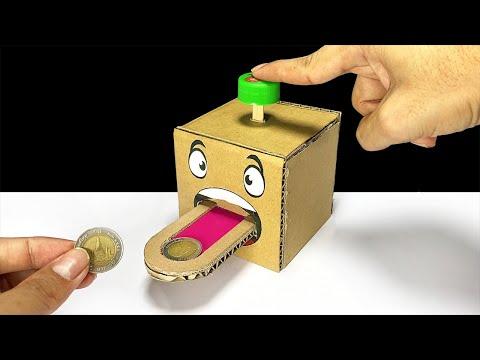 DIY Cion Box Bank From Cardboard   ออมสินกดเหรียญไหลเข้ากล่อง