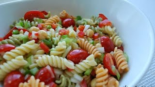 Go to your next Potluck BBQ party in Style with this super easy and crowd pleasing Pasta Salad recipe! Serves: 8-10 peopleIngredients:1 Box Pasta - Around 456g - This recipe works best with Garden Rotini pasta (As it adds color). You can also try with Penne 1/2 Cup diced onion - About 1/2 of a medium sized onion. Use more or less if your prefer1 Cup Diced Bell Pepper - I used a combination of green and red pepper for color1 Can Chick Peas - This will take your pasta salad to a different dimension, it is optional, but I strongly suggest you try it. Use less if desired350 ml Italian Dressing - Use dressing with added flavors to it (like herbs and spices etc) the more flavorful the better pasta salad. Use less if you'd like a more dry pasta salad1 Tsp salt for cooking PastaMake sure to refrigerate at least for an hour before serving, to make sure the flavors are combined well together. Always mix well before serving, to make sure dressing doesn't settle at the bottomHope you enjoyed the video!~AMusic: Youtube LibraryFTC: This video is not sponsored