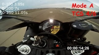 7. Yamaha R1 2012 acceleration, TCS | MODE tests 0-100, 0-200, 0-250