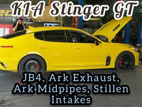 KIA Stinger dyno JB4, Ark exhaust, Ark midpipes, Stillen Intakes