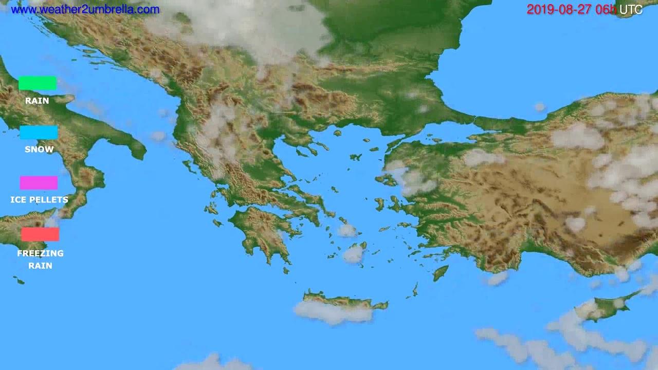 Precipitation forecast Greece // modelrun: 12h UTC 2019-08-24