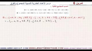 الرياضيات الأولى إعدادي - الأعداد العشرية النسبية المجموع و الفرق : تمرين 6