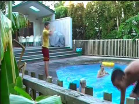 morning madhouse - The 1st ever pool crashers for 2009 at a random person's swimming pool.