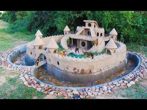 Build Beautiful Mud House Puppy & Fish Pond Around House Puppy   [ Full Video ]
