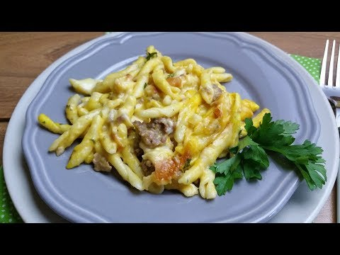 pasta al forno con crema di zucca e salsiccia - ricetta