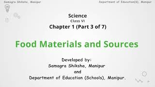 Chapter 1 (Part 3 of 7) Food Materials and Sources