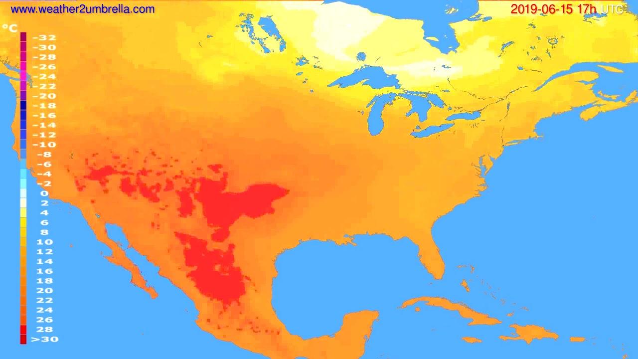 Temperature forecast USA & Canada // modelrun: 00h UTC 2019-06-14