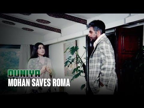 Mohan saves Roma   Duniya (1984)   Ashok Kumar, Dilip Kumar, Rishi Kapoor & Amrita Singh