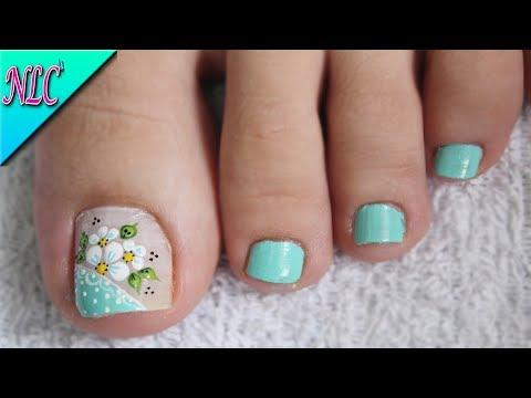 Diseños de uñas - DISEÑO DE UÑAS FLORES PARA PIES ¡MUY FÁCIL!  - FLOWERS NAIL ART - NLC
