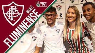 A nova camisa do Fluminense foi anunciada na manhã desta sexta-feira e os jogadores Gustavo Scarpa, Sornoza e Wendel estiveram presentes no evento de lançamento, na loja da Under Armour, no Shopping Rio Sul.