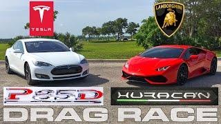 Tesla Model S P85D Ludicrous vs Lamborghini Huracan LP610-4 Drag Race by DragTimes