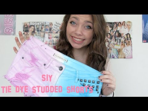 SIY: Tie Dye Studded Shorts (Color Blocking Trend)