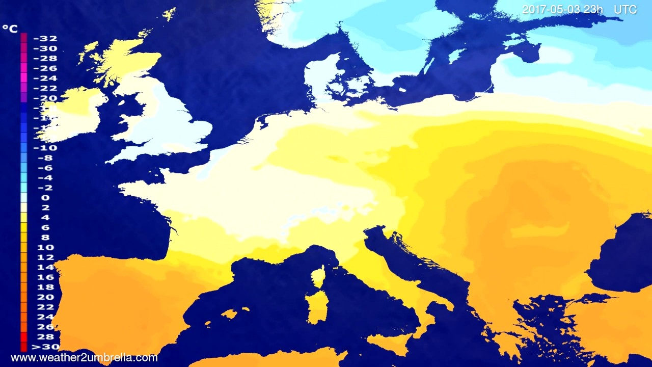Temperature forecast Europe 2017-04-30