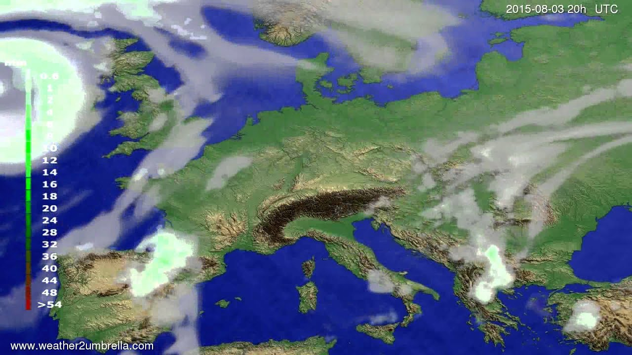 Precipitation forecast Europe 2015-07-31
