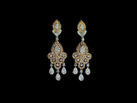 高貴18K玫瑰/白金鑽石耳環