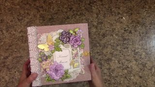 """Free step by step tutorial on how to make this 8 x 8 x 4"""" spine Mini album using First Edition's Mulberry Kisses paper collection. For beginners or seasoned ..."""