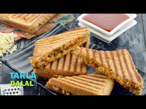 Cheesy Onion Grilled Sandwich by Tarla Dalal