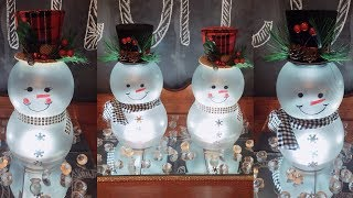 Dollar Tree DIY LIGHTED Mr. & Mrs. Snowmen | Christmas Home Decor