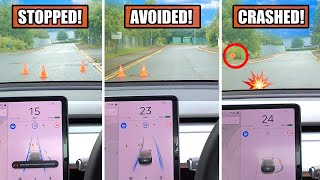 Watch how Tesla AUTOPILOT Reacts to CONES on the road! - (Extreme FSD & TACC Testing vs Objects) by Pokemon Cards