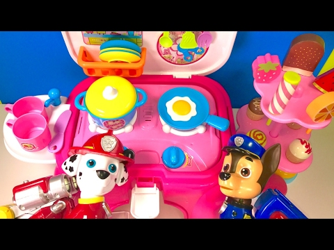 Paw Patrol Cooking In Kitchen With Ice Cream Treats