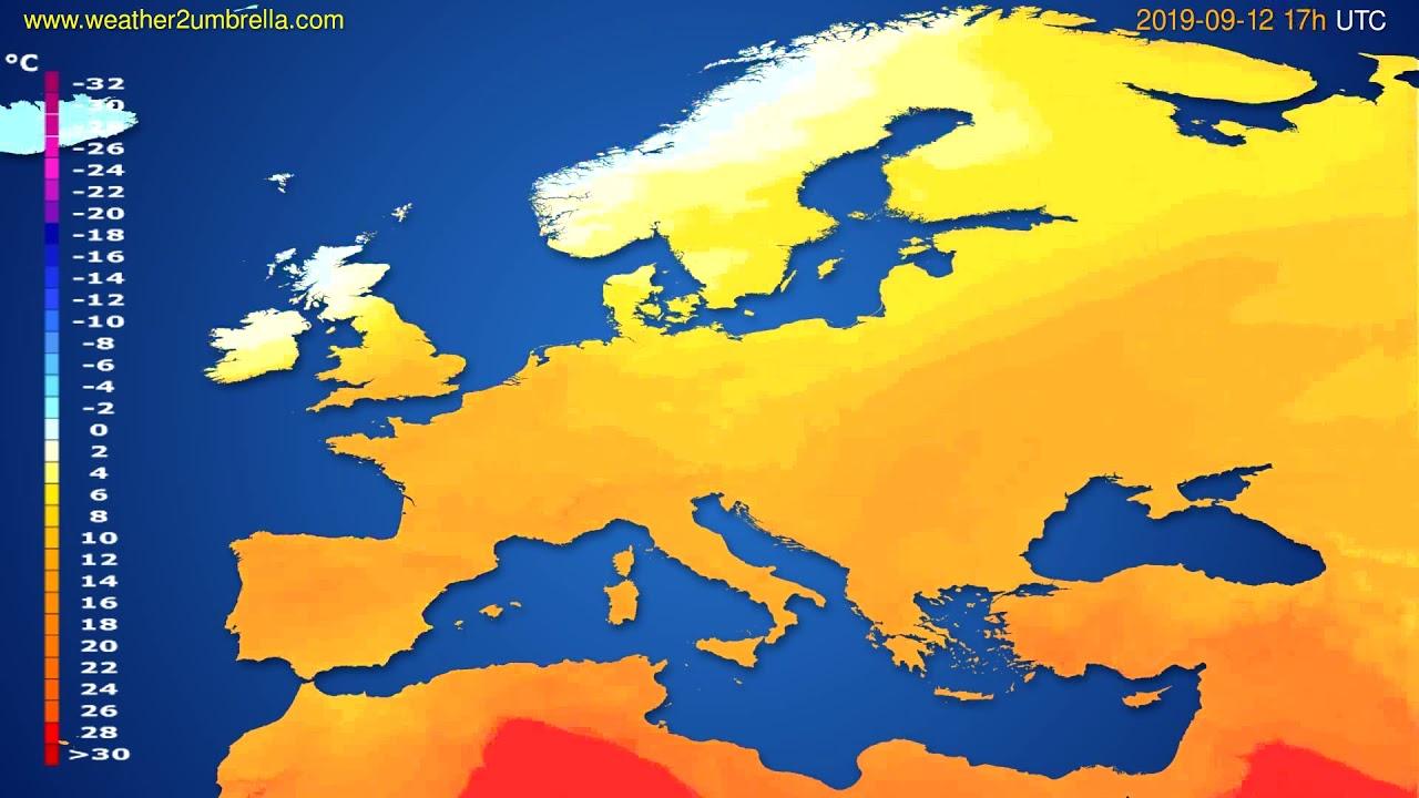 Temperature forecast Europe // modelrun: 00h UTC 2019-09-11