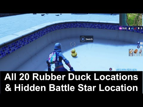 All 20 Rubber Duck Locations & Hidden Battle Star Location - Fortnite Season 4 Week 3 Challenges