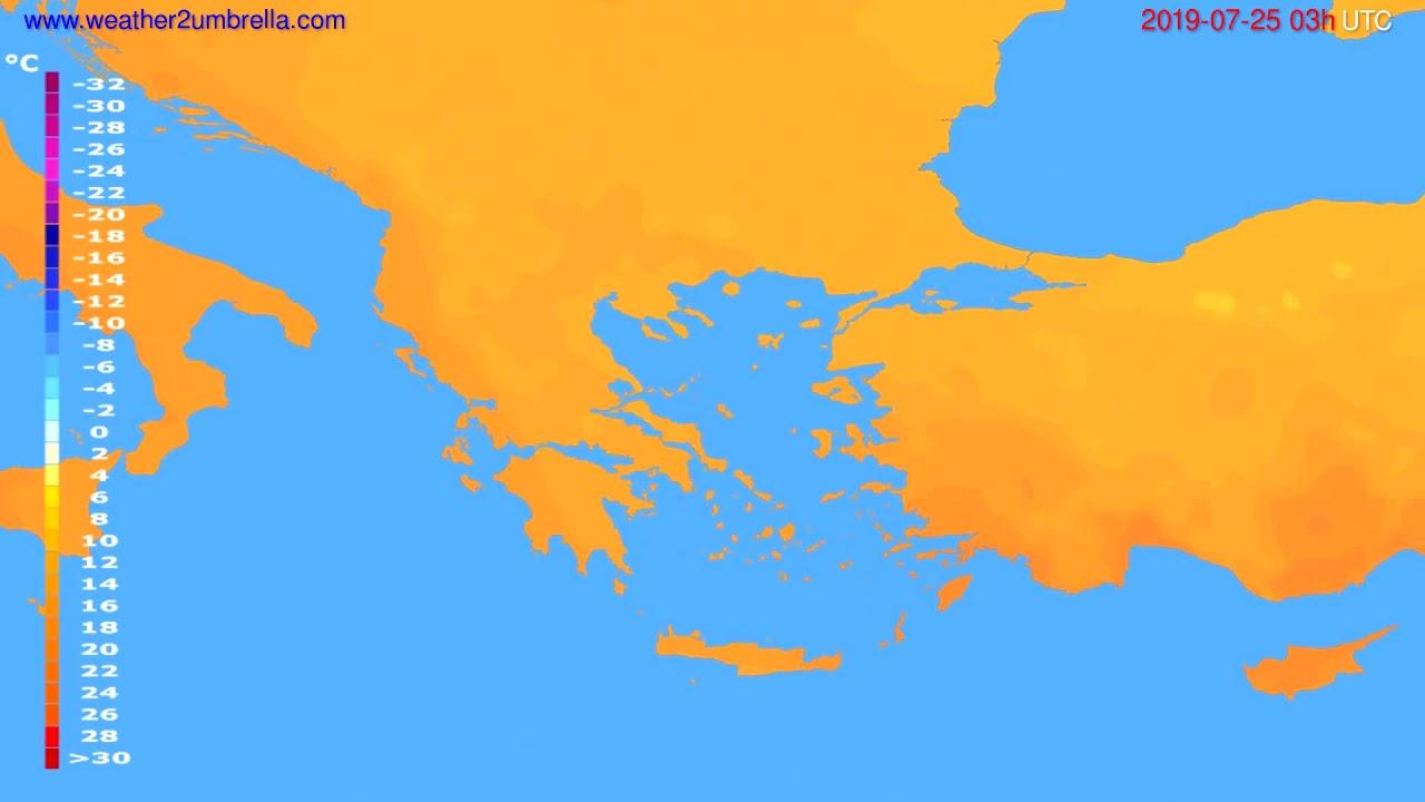 Temperature forecast Greece // modelrun: 00h UTC 2019-07-22