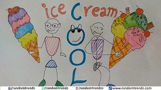 How to Draw a Cartoon Ice Cream Cone-How to Draw a Soft Ice Cream Cone-Ice Cream on Cone Cute & Easy